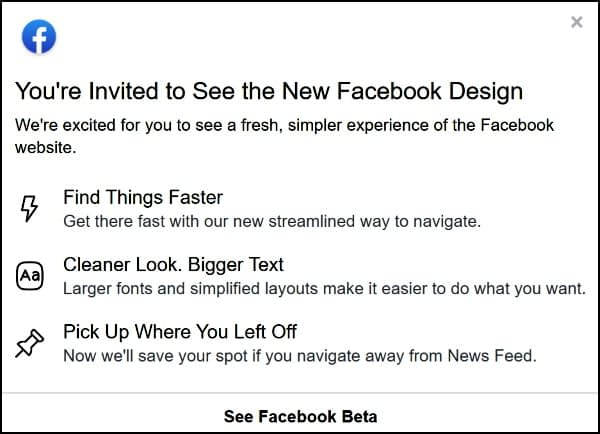 Facebook Beta Invite