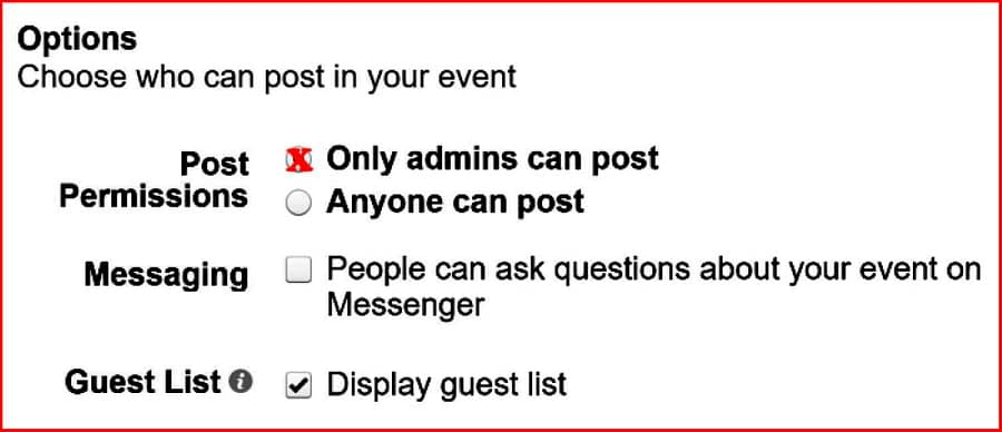 Facebook event setting